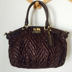 COACH BAG Madison Quilted Chevron Nylon Sophia Brown Satchel. Measurements: 14.5 x 9.5 x 5 in. Beautiful, great condition! But sadly missing long strap and a little discoloration on the inside, pictured. NO TRADES OFFERS WELCOME Coach Bags Shoulder Bags