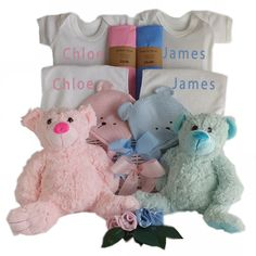 This gorgeous personalised twin gift basket with its cute teddy's will make the perfect gift for baby twins. This twin baby gift basket arrives with two of everything including 2 personalised baby body suits and 2 personalised baby bibs, 2 cute large teddy bears along with a knitted teddy hat for both twins as well as 2 matching coloured muslin baby wraps 2 pairs of baby socks. Baby Twins, Twin Babies, Triplets, Large Teddy Bear, Teddy Bears, Twin Baby Gifts, Triplet Babies, Body Suits, Personalized Baby Gifts