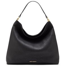 Lavishly textured leather adds to the refined, classic feel of a lightly structured hobo bag completed with a simple center seam and sleek, polished goldtone hardware. Top zip closure Top carry handle
