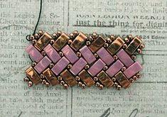 Half Tila Herringbone Bracelet. Links to several FREE Tutorials.~ Seed Bead Tutorials