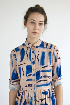 Heinui - LENNY dress in Strokes print