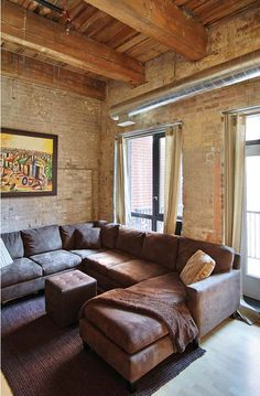 Exposed Brick Walls, Wood Ceilings, Granite Counters, Workout Rooms, Lofts, Toronto, The Neighbourhood, The Unit, Couch