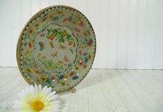 Retro Fluted Round Lithograph Florals & by DivineOrders on Etsy, $12.00