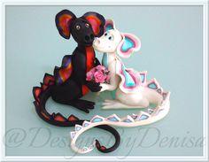 Handmade Personalised Dragons Wedding Cake Topper Bride and Groom Dragons