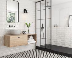 Beautiful Home Interior tradycyjna-lazienka-bialo-czarne-kafle-moonlight-paradyz.Beautiful Home Interior tradycyjna-lazienka-bialo-czarne-kafle-moonlight-paradyz Upstairs Bathrooms, Small Bathroom, Bathroom Interior Design, Home Interior, Bathroom Renovations, Home Remodeling, Behindertengerechtes Bad, Brick Tiles Bathroom, Bathroom Wall