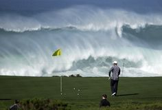 A man....a golf course and some amazing waves!