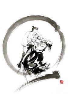 Aikido Painting - Aikido Enso Circle Martial Arts Sumi-e Samurai Ink Painting Artwork by Mariusz Szmerdt