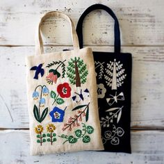 embroidered bag by yumiko higuchi Embroidery Bags, Hand Embroidery Patterns, Cross Stitch Embroidery, Embroidery Designs, Diy Broderie, Fabric Bags, Handmade Bags, Needlework, Sewing Projects