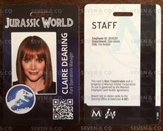 Jurassic World/Park Replica/Prop ID Badge/Card by sevenidco