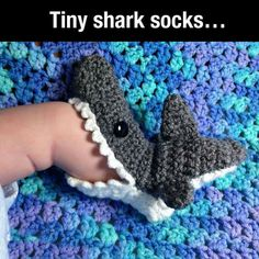 Tiny shark socks / booties for baby. Too too cute!