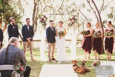 Little dachshund sausage dogs listening intently to their mum and dad's wedding ceremony at Hidden Grove at Noosa Main beach.. adorable <3 Suzanne Riley Marriage Celebrant