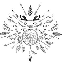 Hand drawn tribal collection with bow and arrows vector by Tatishdesign on VectorStock®