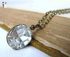 Vintage Rhinestone Necklace Crystal Jewel Antiqued Brass Chain - Bridesmaid gifts (*Amazon Partner-Link)