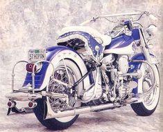 1957 Harley-Davidson FLH by carlene on Indulgy.com...mmmm fishtails... #harleydavidsonbobbervintage #harleydavidsonsporster