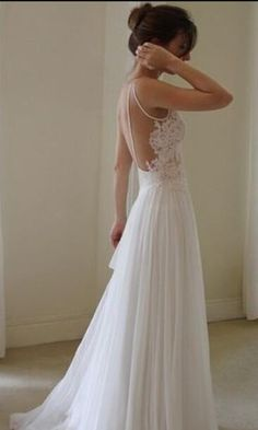 Floor Length Backless Lace Wedding Dresses,Lace Wedding Dresses, Backless Wedding Dresses,Spaghetti straps Prom Dresses