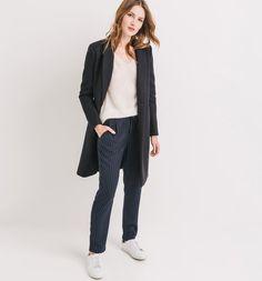 Spodnie damskie niebieskie paski - Promod