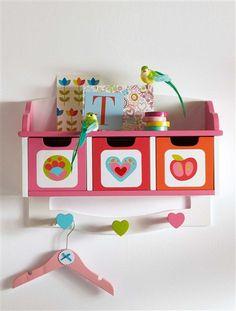 Etagère-tiroirs et patères fil BLANC IMPRIME - vertbaudet enfant