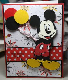 29 Ideas Birthday Card Invitation Mice For 2019 - Modernes Disney Birthday Card, Birthday Cards For Boys, Bday Cards, Mickey Mouse Birthday, Birthday Bash, Disney Christmas Cards, Disney Cards, Disney Scrapbook, Scrapbook Cards
