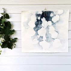 "Inspired by my small garden, mountain streams overgrown with green, and the vines that creep quietly and steadily around buildings and porches; this watercolor painting captures the peacefulness of nature and the gentleness it can bring into our lives. Painted in monochromatic grays and blue shades, this painting is minimalistic and poetic. ""Summertime Clippings"" 22x25 inches, Watercolor on very thick cotton rag paper. Framing is also available here. We will build a custom frame fo..."