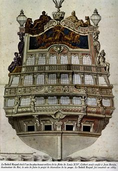 Poster ::: (stern gallery of a century warship). Ship Figurehead, Old Sailing Ships, Ship Of The Line, Wooden Ship, Nautical Art, Armada, Model Ships, Tall Ships, Water Crafts