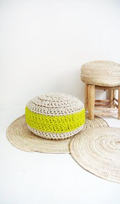Pouf Crochet Neon Yellow by lacasadecoto on Etsy
