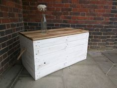 Handmade Rustic Trunk Storage Chest / Trunk / Hope Box with rope handles. Whitewashed with waxed lid, rustic chest, rustic trunk by TimberWolfFurniture on Etsy