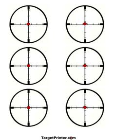 Print Six Small Scopes Cross Hair Targets, Rifle,Pistol, BB, Airsoft Guns. Free Hunting Silhouette Paper Targets for the Range