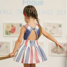 Discover at Kolor Kids the best place to buy dresses for girls - Girl Dress Mykonos by Foque. Baby Girl Frocks, Kids Frocks, Frocks For Girls, Little Girl Outfits, Little Girl Dresses, Kids Outfits, Girls Dresses, Baby Girl Fashion, Toddler Fashion