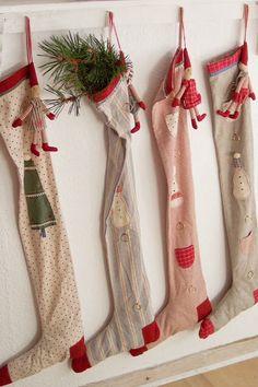 Sweet vintage Christmas stockings with homemade dolls. Primitive Christmas, Swedish Christmas, Christmas Sewing, Noel Christmas, Merry Little Christmas, Scandinavian Christmas, Country Christmas, Winter Christmas, Christmas Crafts
