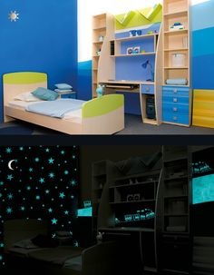A special bedroom decorated with Valpaint Magic Light. #stars