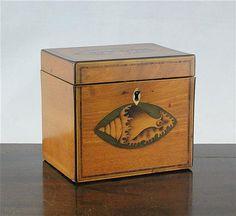 A George III parquetry inlaid satinwood tea caddy, 5ins via invaluable.com