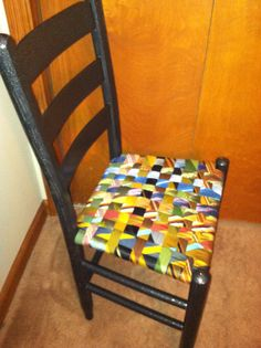 Woven Chair Seat Made From Old Men S Ties Love This Idea