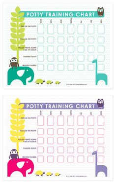 Free Potty Training Charts download! Print on 8.5 x 11 paper or card stock and put on the wall next to the child's potty. Let them pick small stickers that they will get every time they do a task on the chart. This really helped when I was toilet training my daughter. #potty #toilet #training  New designs: http://blog.hipbaby.com/2017/09/free-printable-potty-training-chart.html