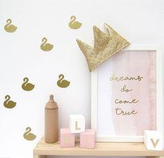 Interior Home Design Trends For 2020 - Ideas Girls Princess Room, Princess Nursery, Girl Nursery, Swan Nursery Decor, Nursery Themes, Nursery Ideas, Bedroom Ideas, Wall Decal Sticker, Wall Stickers