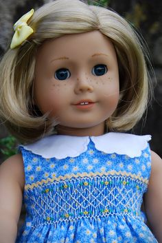 Kit looks so pretty in blue. I hand-smocked this little dress for Kit.