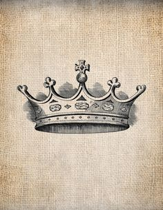 Antique Crown Royalty 6 King Queen Prince Princess Illustration  Digital Download for Papercrafts, Transfer, Pillows, etc Burlap No 1383 via Etsy