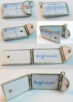 Vintage Enameled Forget Me Not Letter Envelope Charm ~ From the estate of Joan Munkacsi