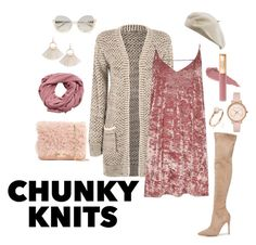"""""""Blushy & Chunky"""" by inspiristabree ❤ liked on Polyvore featuring WearAll, River Island, Kendall + Kylie, Loeffler Randall, MANGO, Ted Baker, La Perla and chunkyknits"""