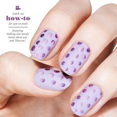 Get playful with this purple polka dot nail art with a matte metallic finish. Click to watch the video tutorial.