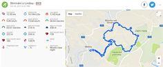 Stmívání s Lindou - plánek trasy a naměřené statistiky v aplikaci Endomondo
