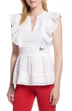 1901 Cotton Eyelet Ruffle Top available at Lace Dress Styles, Blouse Styles, Eyelet Top, Ruffle Top, African Blouses, Short Sleeve Collared Shirts, Zara Fashion, Blouse And Skirt, Fashion 2020