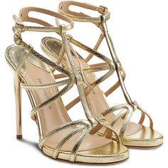 Paul Andrew Ikaria Snakeskin Sandals ($390) ❤ liked on Polyvore featuring shoes, sandals, heels, scarpe, high heels, gold, leather shoes, strap heel sandals, special occasion shoes and strap sandals