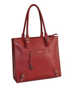 Take a look at this Red 16'' Structured Pebble-Grain Laptop Tote on zulily today!
