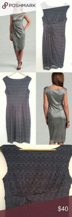 "Gray Lace Faux Wrap Cocktail Dress Make a subtle statement in this classy cocktail dress. Strands of metallic threads shine throughout the delicate lace overlay. Split front skirt creates the illusion of a wrap dress. Gathers at the waist to one side create curves & hide any tummy areas. Cap sleeves. Wide scoop neck. Modest knee length. Worn only once.   {Measurements} Bust: 16: Waist: 16"" Length: 41""  {Materials} 100% Polyester Connected Apparel Dresses"