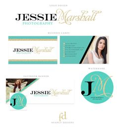 Glitter Business Logo & Marketing Kit #turquoise #gold #glitter #business #logo #marketing #branding