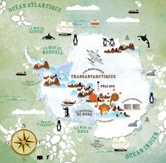 Antarctica illustrated map - Alexandre Verhille--- would be incredible to walk the ice French Illustration, Travel Illustration, Travel Maps, Travel Posters, Art Carte, Tourist Map, Map Globe, Map Design, Map Art