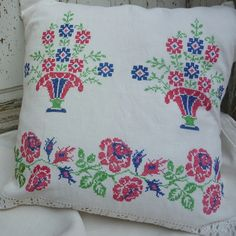 Cushion cover from very pretty vintage embroidery Hand embroidered in cross stitch on pale vintage linen Drawn thread wotk at base Backed with