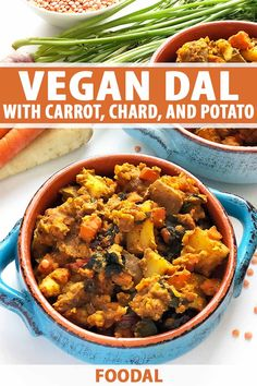 This carrot, rainbow chard, and red potato dal is a healthy vegan meal packed with warming spices. Made in just one pan, you're going to love this recipe. Lentil Dishes, Vegan Dishes, Healthy Dinner Recipes, Vegetarian Recipes, Vegan Meals, Curry Recipes, Vegetable Recipes, Vegan Food, Big Meals