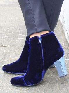 Looks Purple to me --- ?   Anyone?   Very, very fabulous - whatever you call it!   Navy Velvet Velutto Bootie Boots by Opening Ceremony Shoes - OPS10021