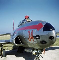 The business end of a Lockheed F-80C Shooting Star of the 22nd FS showing its collection of right bank 50. calibers.